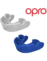 Twin Pack - OPRO Junior Self Fit Mouth Guard Gum Shield for Rugby, Hockey, MMA, Boxing with 18 Month Dental Warranty (Blue + White colours)