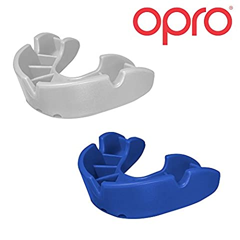 Twin Pack - OPRO Junior Self Fit Mouth Guard Gum Shield for Rugby, Hockey, MMA, Boxing with 18 Month Dental Warranty (Blue + White