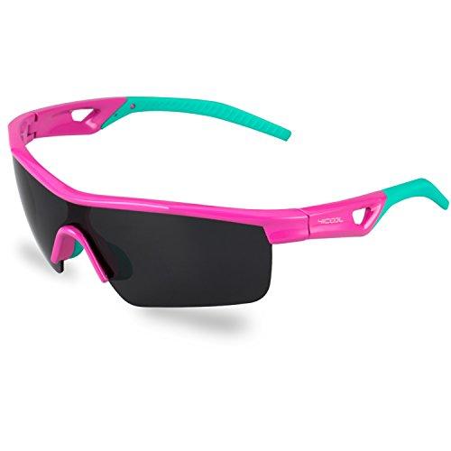 Hicool Kinder Sonnenbrille Sportbrille UV400 Schutz Polarisiert für Mädchen und Jungen Rahmen Pink/Grün Linsen Schwarz