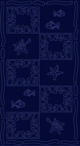 Telo mare XXL 100x200cm - 100% cotone 380g/m² - design Tartaruga - colore Blu scuro