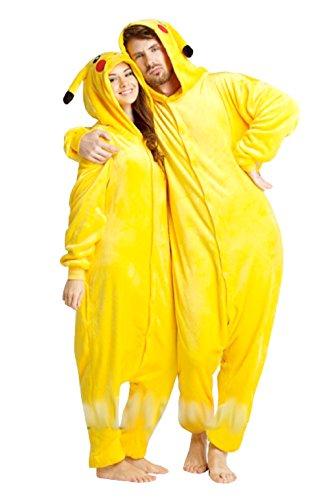 Mp2M - Gelbe Pokemon Pikachu M GrößE KarnevalskostüM FüR MäNner Und Frauen Erwachsene Unisex Pyjamas Pyjamas (Erwachsene Badeanzug)