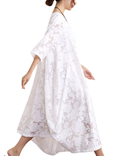 Youlee Damen Sommer Frühling Hohle Blumen Kleid Weiß
