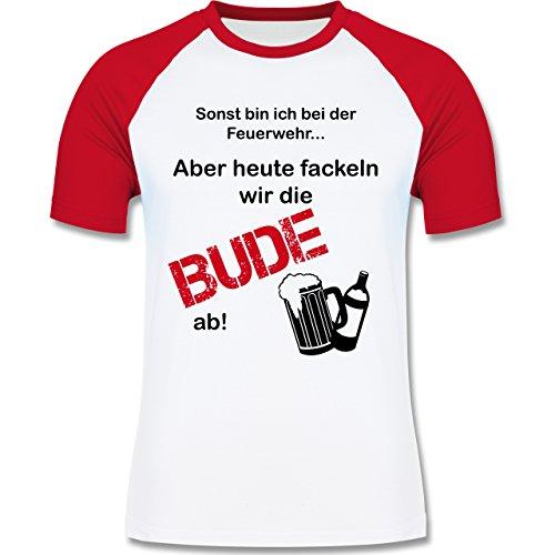 Shirtracer JGA Junggesellenabschied - Heute Fackeln Wir Die Bude ab! - Herren Baseball Shirt Weiß/Rot