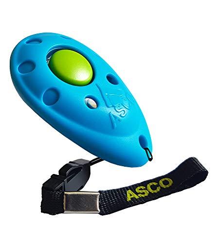 ASCO Premium Clicker für Clickertraining, Hunde Katzen Pferde Profi Clicker, Hundetraining Klicker blau AC04P