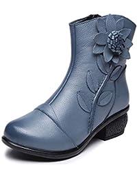 MatchLife Damen Stiefel Wasserdicht Weiches Leder Stiefel Gefüttert Damenstiefel Vintage Schuhe