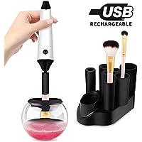 Limpiador de Brochas de Maquillaje, Morpilot Recargable Eléctrico Limpiador y Secador para Cepillos, Limpieza Profunda de 360 Grados y Seca Pinceles en Segundos (incluye 7 Adaptadores para Brochas)