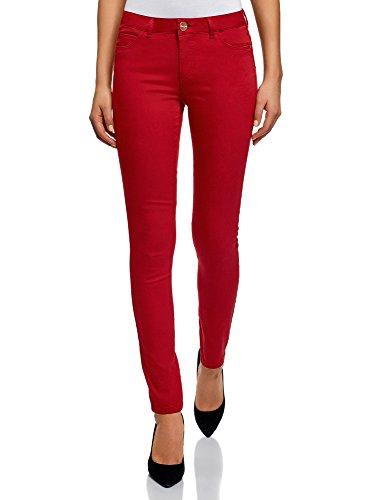 oodji Ultra Damen Jeans Slim-Fit Basic, Rot, 26W / 32L (DE 34 / EU 36 / XS)