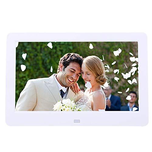 Garsent Digital Bildrahmen, 10 Zoll Hohe Auflösung Fotorahmen mit Werbung Maschine Wecker MP3 MP4 Funktion mit Fernbedienung (Weiß)