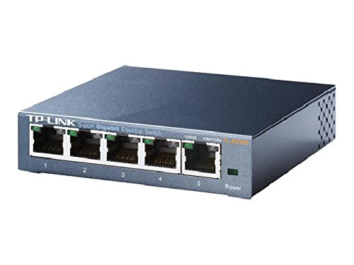TP-Link TL-SG105 5-port Metal Gigabit Switch 5-Port-Gigabit-Switch mit Metallgehäuse, 5 10/100/1000MBit/s-RJ45-Ports, IGMP-Snooping, IEEE802.1P-QoS, Plug and Play