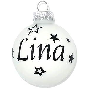 Weihnachtskugel mit Name aus Glas 6cm Wunschtext Weiß Matt