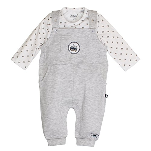 SALT AND PEPPER Baby-Jungen Strampler NB Dungarees Ready Uni, Grau (Light Grey Melange 205), 68