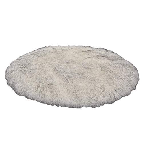 Teppiche Weißer Grauer Flächenteppich, Schlafzimmer/Wohnzimmer, Runde Wollmatten Aus Wolle, in Verschiedenen Größen Erhältlich (größe : 180x180cm) -