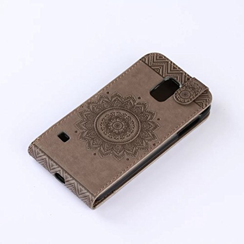 Samsung Galaxy S5 Case, vertikal Flip-Standplatz Fall geprägt Blumen Muster Leder Fall Deckung mit Wallet-Card Slots für Samsung Galaxy S5 ( Color : Light Purple , Size : Samsung Galaxy S5 ) Gray