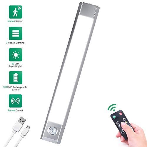 LED Unterbauleuchte mit Fernbedienung - USB Aufladbar Batterie Schrankbeleuchtung LED Nachtlicht mit Bewegungsmelder | Kabellos Nachtlicht | 3 Modus Beleuchtung Warmweiß, Kaltes Weiß und Weiß