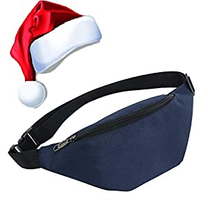 Qisiewell Basic Mode-Gürteltasche Sport-Bauchtausche Wander-Hüfttasche Blau 2 Fächer Reißverschluss Verstellbarer Gurt Damen/Herren