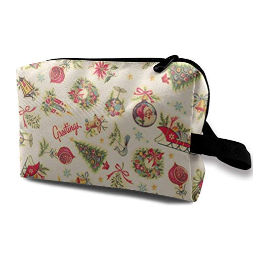 Retro Christmas Decals Toiletry Bag Waterproof Fabric Cosmetic Bags Travel Case for Women's Accessories -