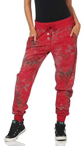 Malito Damen Jogginghose mit Jungle Print | Sporthose mit Muster | Baggy zum Tanzen | Sweatpants - Trainingshose 83728 (rot)