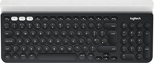 Logitech K780 Multi-Device Wireless Keyboard (für Windows/Mac/Chrome OS/Apple iOS/Android, QWERTZ Deutsches Tastaturlayout) Dunkelgrau/Weiß