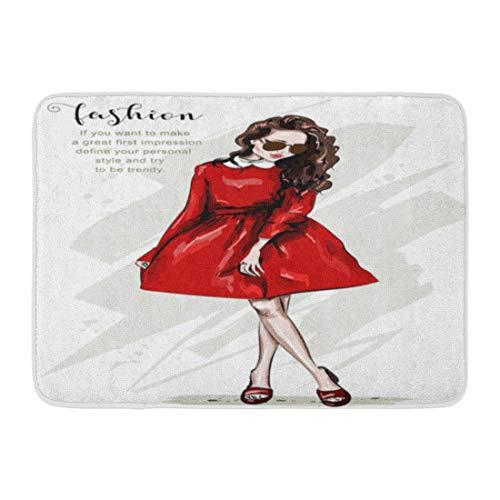 LIS HOME Bad Matte Zubehör Zeichnung schöne Frau im roten Kleid Ganzkörper Portrait stilvolle Mädchen Sonnenbrille Skizze niedlichen Badezimmer Dekor Teppich