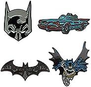 DC Comics Unisex Adult Batman Enamel Lapel Pin Set (4 Piece), Grey, One Size