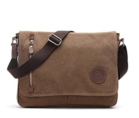 Alando Damen Herren vintage Canvas Schultertasche Umhängetasche Messenger Bag für Uni Arbeit freizeit und Outdoor Sport