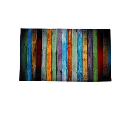 Hemore Colorful Holz Muster innen Moderner Badvorleger Rutschfest wasserfest Bereich Teppiche Plüsch Teppich für Wohnzimmer Schlafzimmer Esszimmer 119,9x 40,1cm