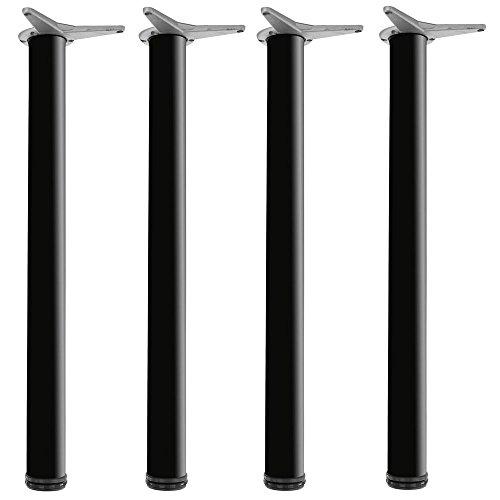 Gedotec Möbelfüße schwarz matt Tisch-Beine höhen-verstellbar Tischfüße Metall - H1712 | Höhe 710 mm | Ø 60 mm | Stützefüße für schwere Arbeitsplatten | 4er Set - Design Verstellfüße inkl. Schrauben