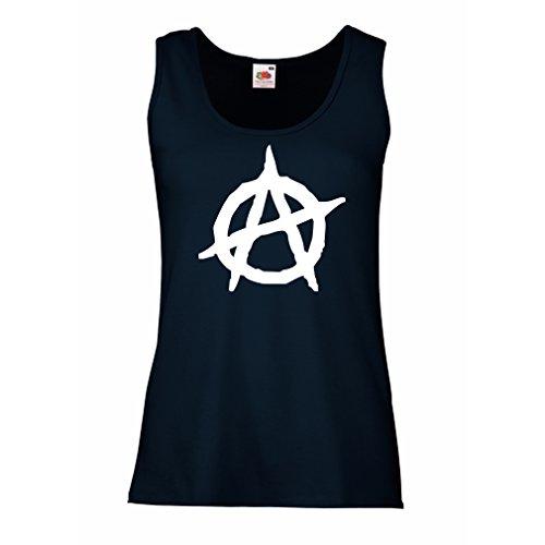 lepni.me Femme Débardeur sans Manche Symbolisme anarchiste, Conception Politique anarchisme, Symbole de L'Anarchie Bleu Blanc