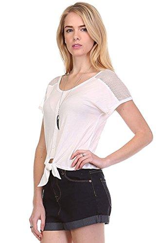 2LUV Damen Bluse Gr. S, Gebrochenes Weiß - Forever Juniors T-shirt
