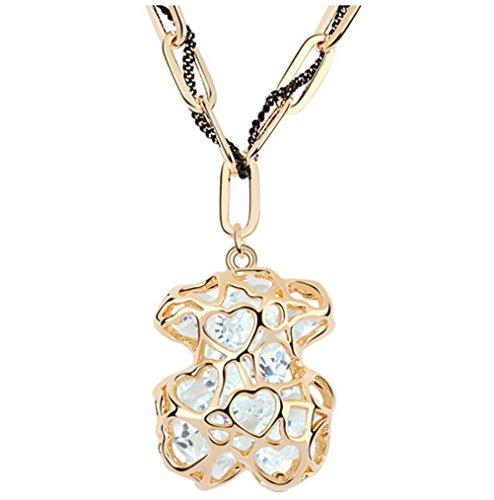 Quarz Klar Halskette Kristall (Sojewe Damen Tierbären Lange Halskette Klar Kristall auf Anhänger Vergoldet und Seil Geschenk für Frau, Freundin)