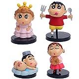 SONGDP Juguetes de anime 4 unids personaje de dibujos animados modelo de personaje de dibujos animados para adultos Comic Crayon Shinchan adulto niño juguete, regalo del muchacho decoración de la tort