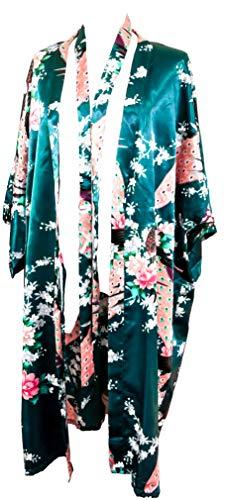 Kimono de CC Collections 16 Colores Shipping Bata de Vestir túnica lencería Ropa de Noche Prenda Despedida de Soltera (Verde Oscuro/Esmeralda)