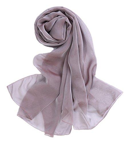 Prettystern - 200cm laufsteg Fashion Show Seidentaft 100% Seide Stole Abendkleid Party Begleiter - 32. lila grau