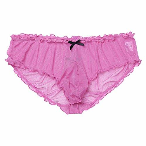 8f923e9b1f52 FEESHOW Men Mesh Sheer Bikini Briefs Underwear Sissy Sheath Pouch Panties  Hot Pink Medium (Waist:29.0-43.0