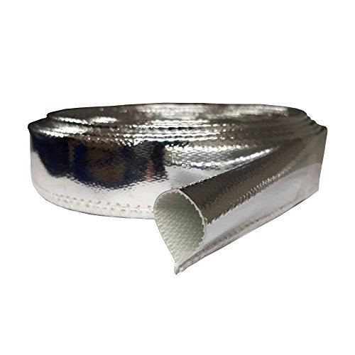 Preisvergleich Produktbild 1m Hitzeschutz Schlauch 15mm Gewebe Alu Kabelschlauch Thermo Fiberglas Sleeve