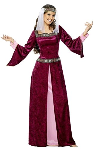 Für Renaissance Erwachsene Maiden Kostüm - Fancy Me Damen-Grün Pink Lila Voll lang Länge Renaissance Mittelalter Tudor Kostüm Kleid Outfit UK 8-26 Übergröße - Rosa, 24-26