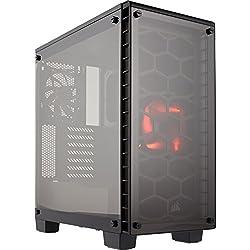 Corsair Crystal 460X Case da Gaming, Mid-Tower ATX Compatto, Rosso LED, Nero