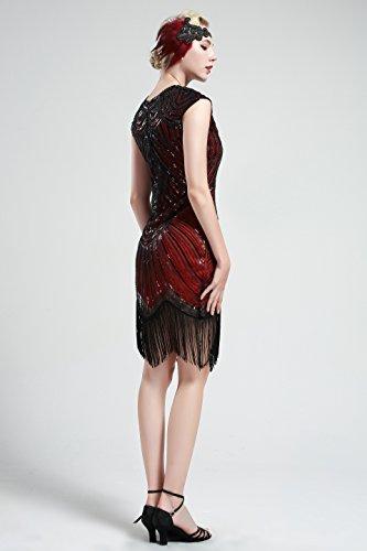 BABEYOND Damen Kleid Retro 1920s Stil Flapper Kleider voller Pailletten Runder Ausschnitt Great Gatsby Motto Party Kleider Damen Kostüm Kleid Rot