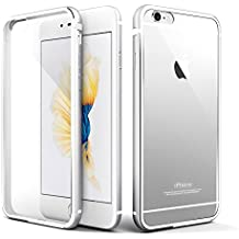 Cover iPhone 6s, Roybens® Metallo Silicone 2 in 1 Trasparente Cover Ultra Sottile Antiurto Custodie per Apple iPhone 6 e iPhone 6s, Argento [Silver]