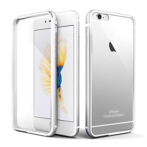 iPhone 6s Hülle, Roybens Metall Silikon 2 in 1 Extra Dünn Stoßfest Durchsichtig [Transparent] Schalen Clear Taschen für Apfel [Apple] iPhone 6 und iPhone 6s, Silber [Silver]