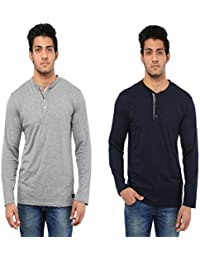 Five Stone Combo Pack Of 2 Solid Round Neck Grey & Hayder Grey Coloured With Full Sleeve T-Shirt For Men