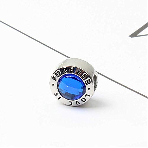 Xingxx accessori 1pc nuovo bianco bianco viola blu rotondo amore famiglia È per sempre diy perline si adatta al fascino europeo pandora azzurro