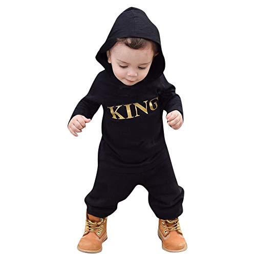 Kobay Neugeborenes Baby Boy mit Kapuze Brief Strampler Jumpsuit Playsuit Kleidung Outfits(12-18M,Schwarz-1)