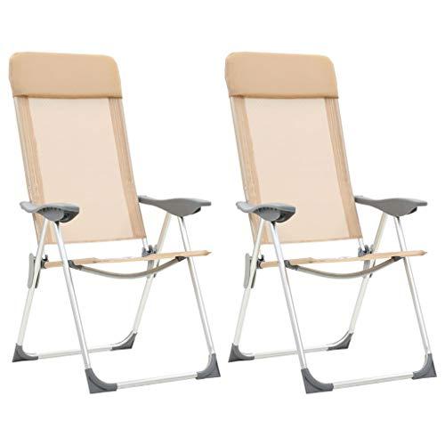 Festnight- Fauteuil de Jardin Pliant en Aluminium Chaise de Relaxation Chaise Longue de Jardin Chaises de Camping Pliables 2 pcs Crème
