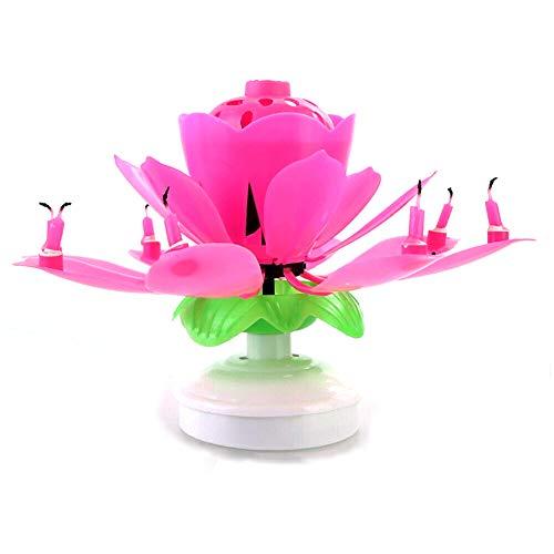 YoZhanhua - Vela Decorativa para Tarta de cumpleaños, diseño de Flor de Loto con Flores