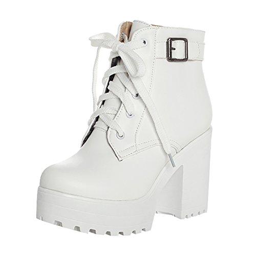 UH Damen Blockabsatz Stiefeletten Schnürung Plateau High Heels Boots mit Schnalle 10cm Absatz Warm Schuhe