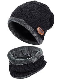 bufanda del sombrero de los hombres, Kfnire sombrero hecho punto invierno + bufanda con forro polar