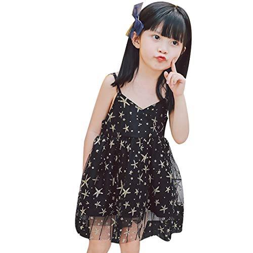 Allence Ärmelloses Sling Mesh Sternenkleid für Kinder Mode Stars Princess Dress Partykleid (Up Dress Für Princess Kleinkinder Kleidung)