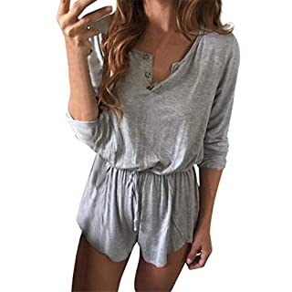 AmazingDays Ladies Summer Party Casual Elegant Club Women Sexy V-Neck Solid Beach Frock Loose Lace up (M, Gray)