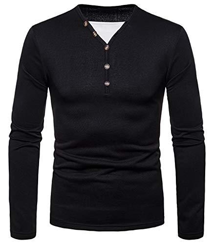 WHATLEES Herren Urban Basic Regular Fit Langarm Henley T-Shirt mit Knöpfen Melange Langarmshirt BA0168-black-M -